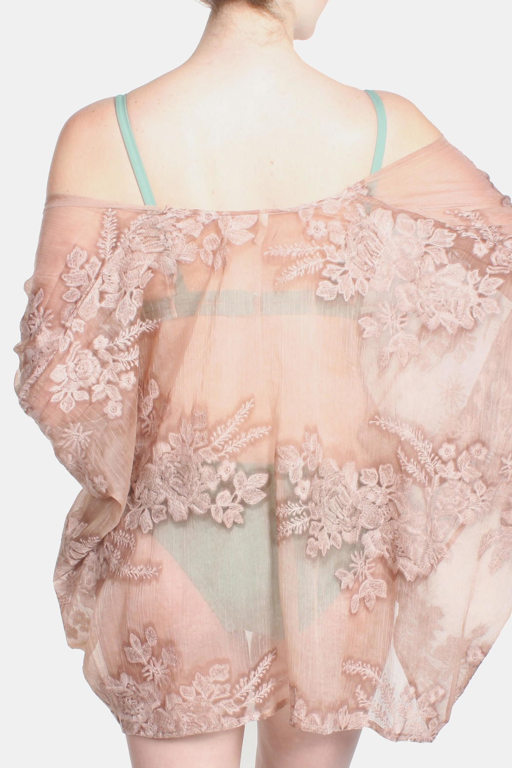 Sage Burn Out Lace Kimono - Front Cropped Image