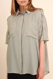 Umgee USA Sage Button Blouse - Front cropped