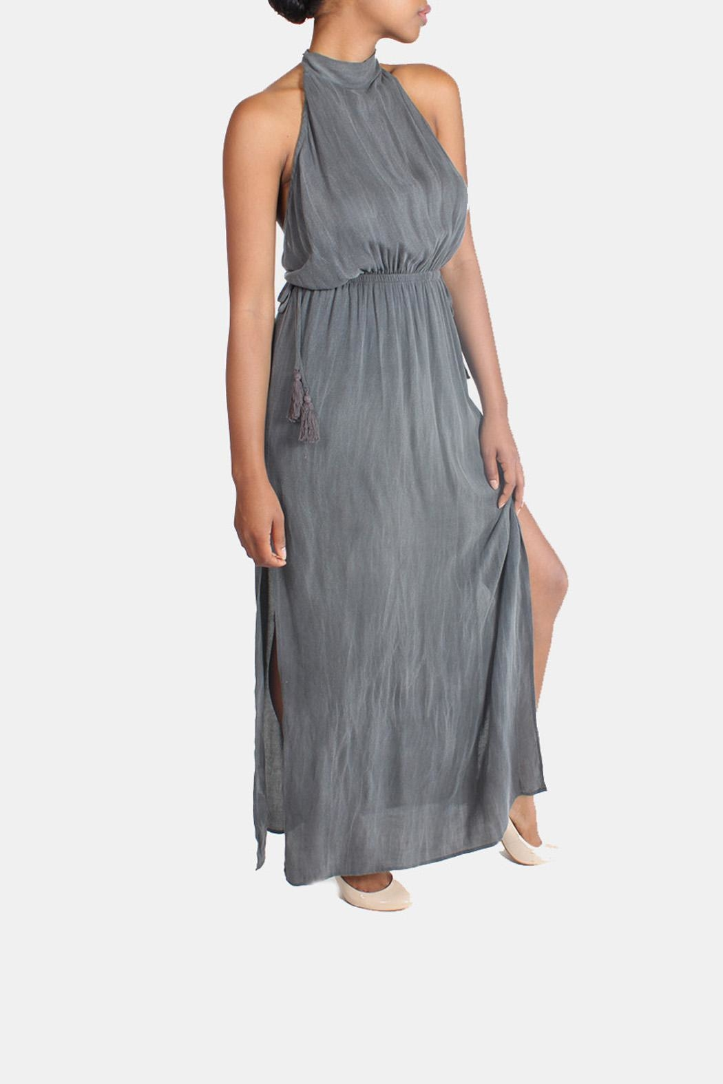 Sage Charcoal High-Neck Maxi-Dress - Side Cropped Image