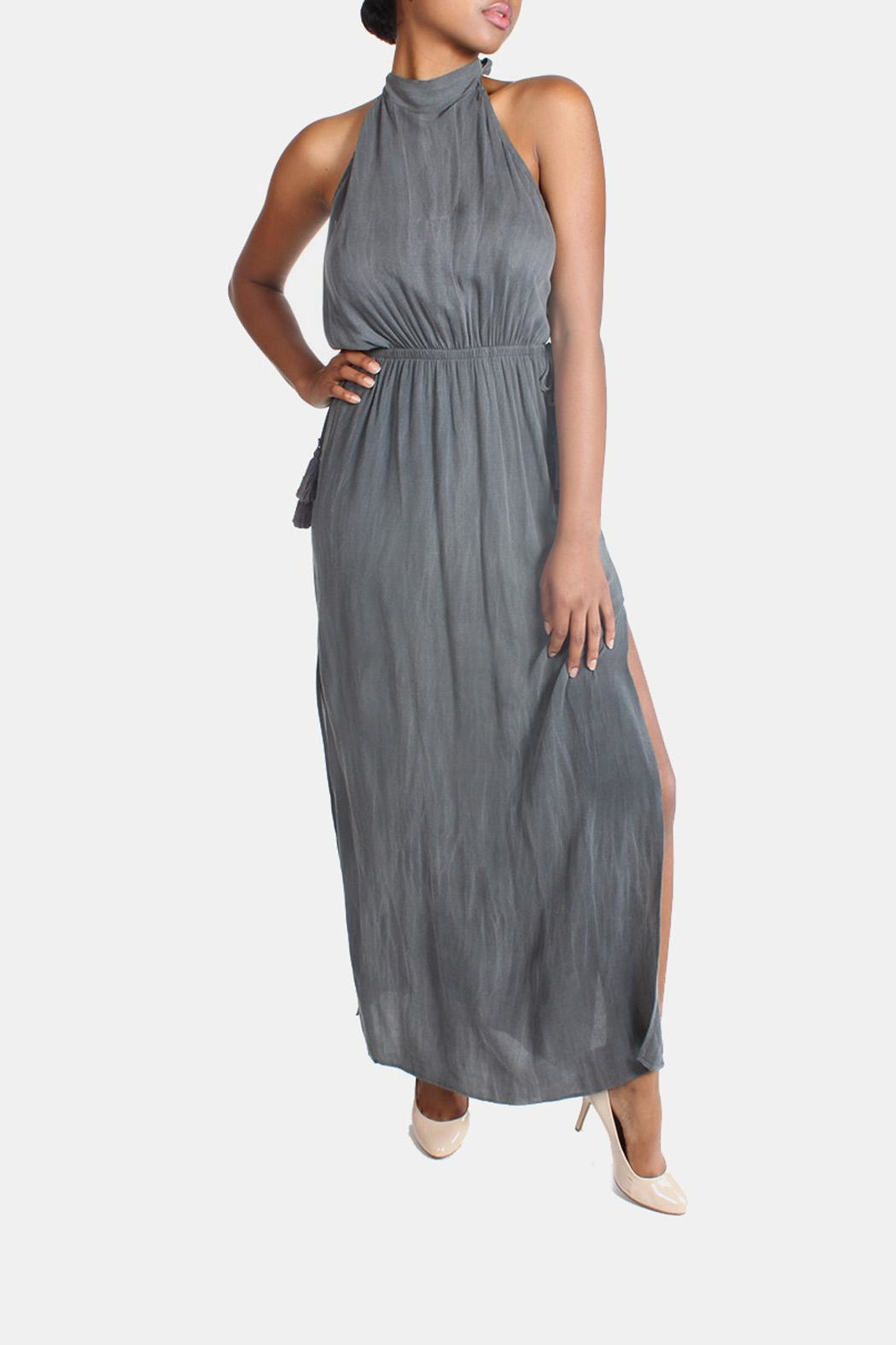 Sage Charcoal High-Neck Maxi-Dress - Main Image