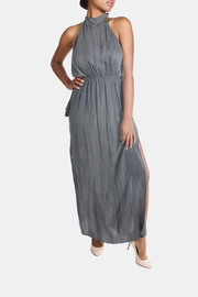 Sage Charcoal High-Neck Maxi-Dress - Front cropped
