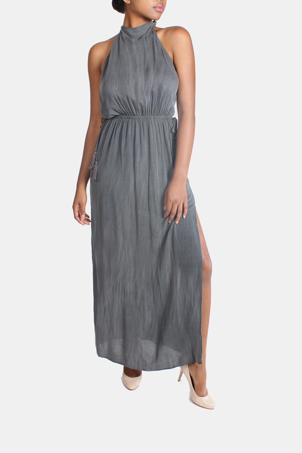 Sage Charcoal High-Neck Maxi-Dress - Front Full Image