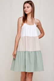 If She Loves Sage Color Block-Tiered Dress - Product Mini Image