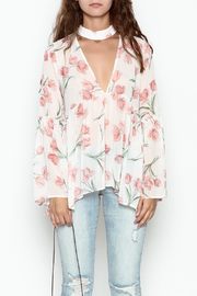 Sage Floral Print Blouse - Front full body