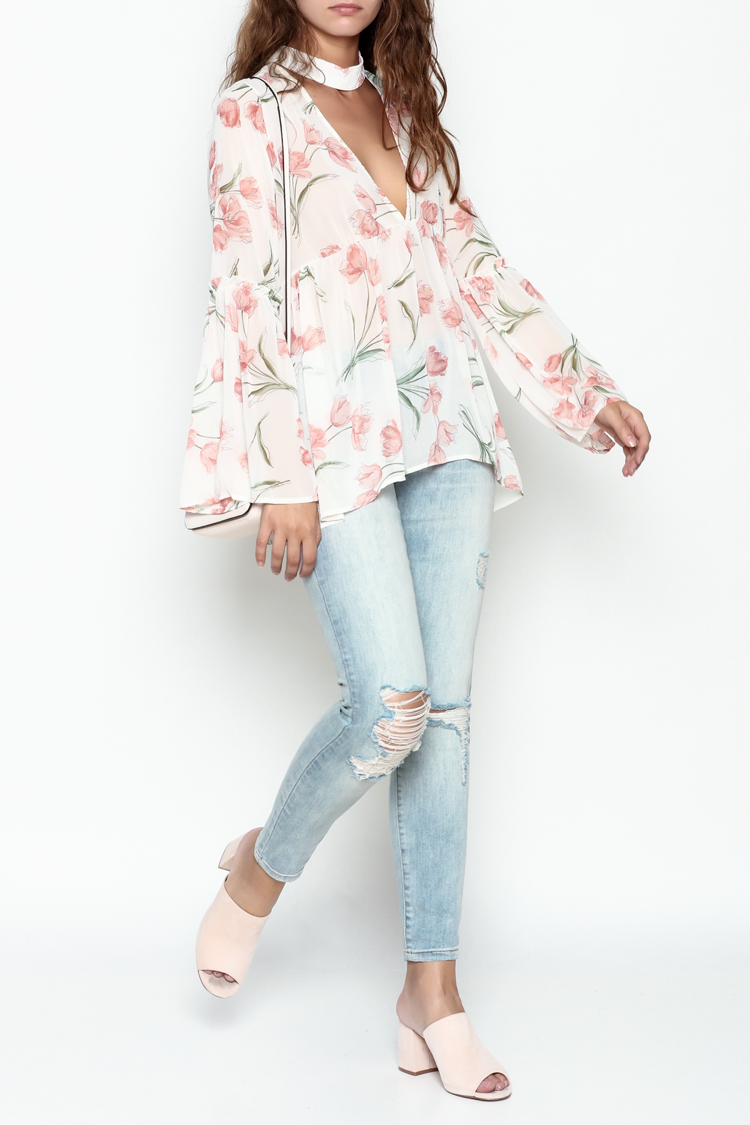 Sage Floral Print Blouse - Side Cropped Image