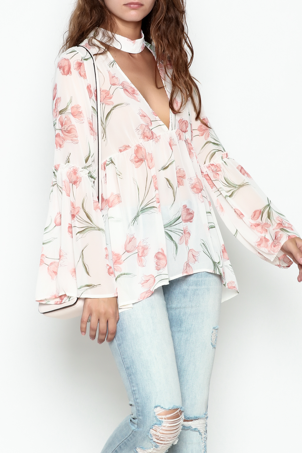 Sage Floral Print Blouse - Front Cropped Image
