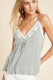 In Loom Sage Embroidered Babydoll Tank - Product Mini Image