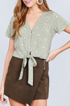 Active Basic Sage Floral Crop-Top - Product List Image