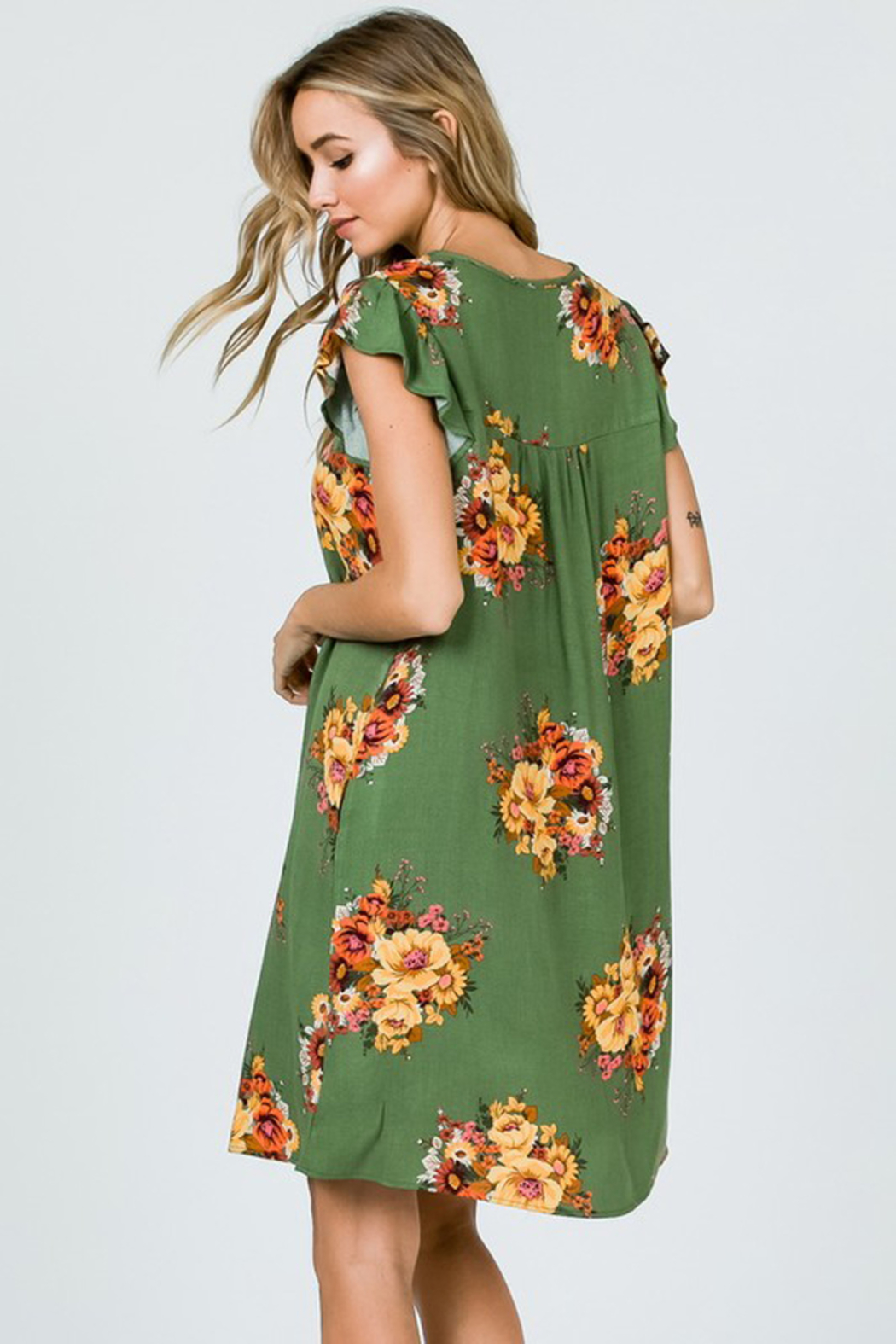 Ces Femme Sage Floral Dress with Ruffle Sleeves and Pockets - Front Full Image