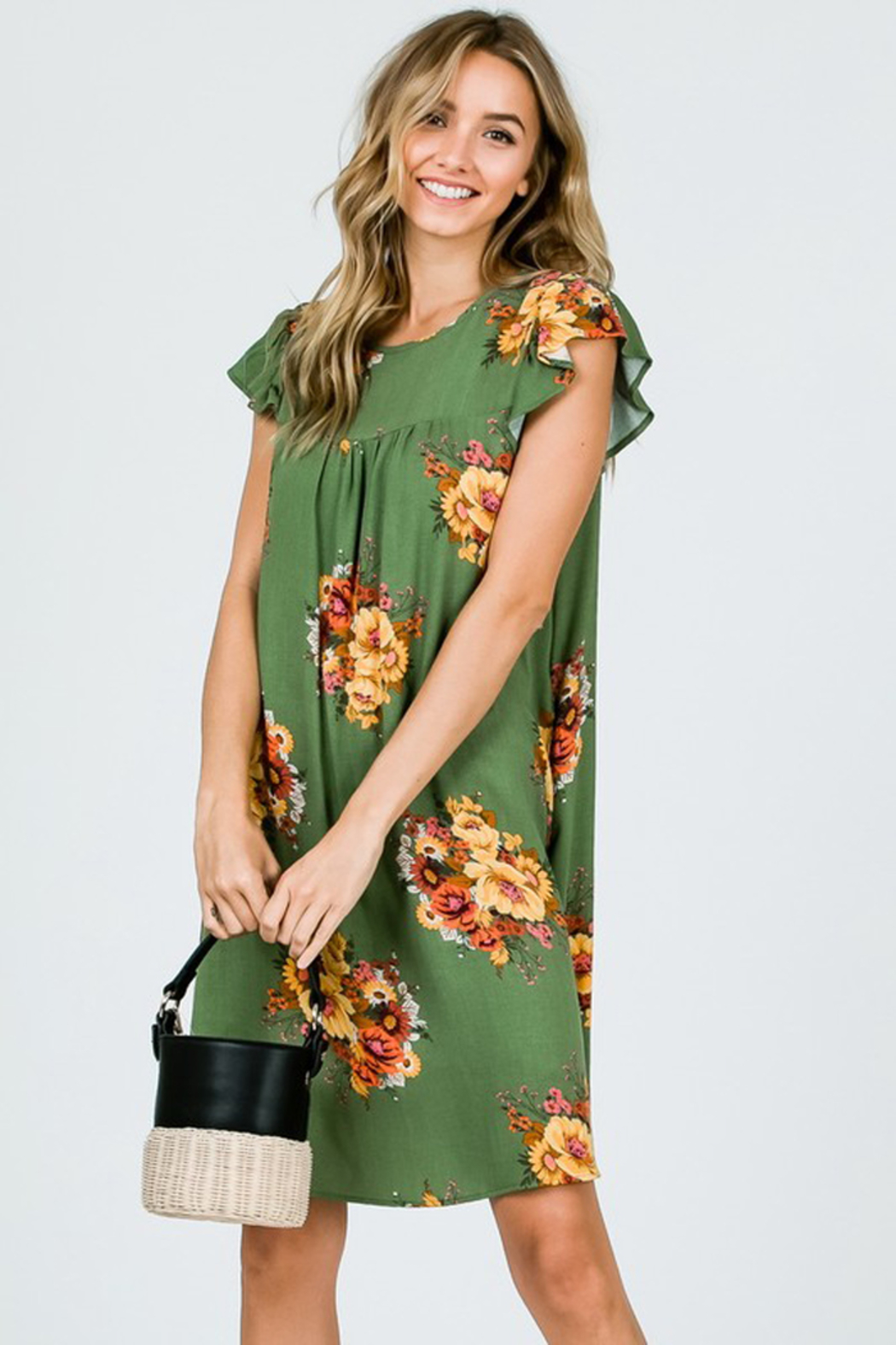 Ces Femme Sage Floral Dress with Ruffle Sleeves and Pockets - Back Cropped Image