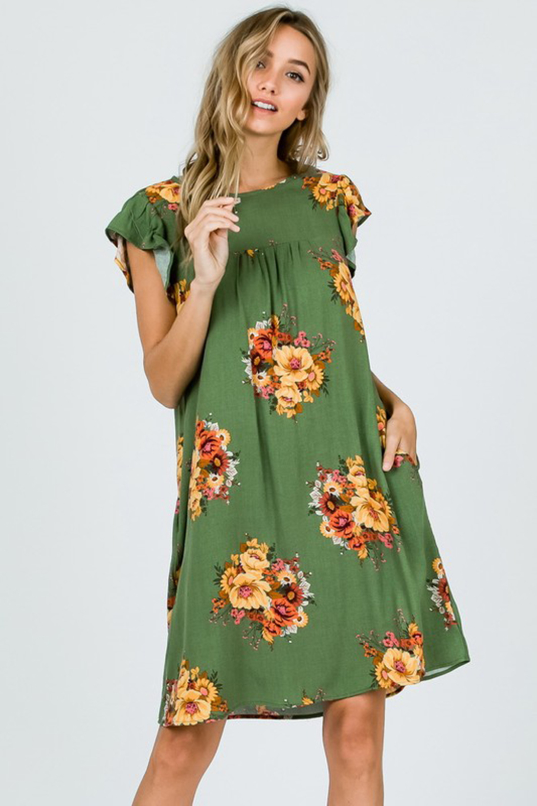 Ces Femme Sage Floral Dress with Ruffle Sleeves and Pockets - Side Cropped Image