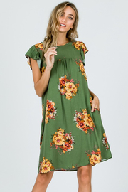 Ces Femme Sage Floral Dress with Ruffle Sleeves and Pockets - Side cropped