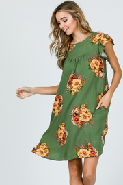 Ces Femme Sage Floral Dress with Ruffle Sleeves and Pockets - Front cropped