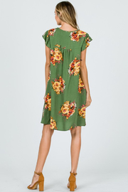 Ces Femme Sage Floral Dress with Ruffle Sleeves and Pockets - Other