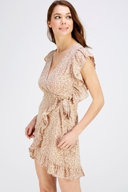 Sage Floral Wrap Dress - Front full body