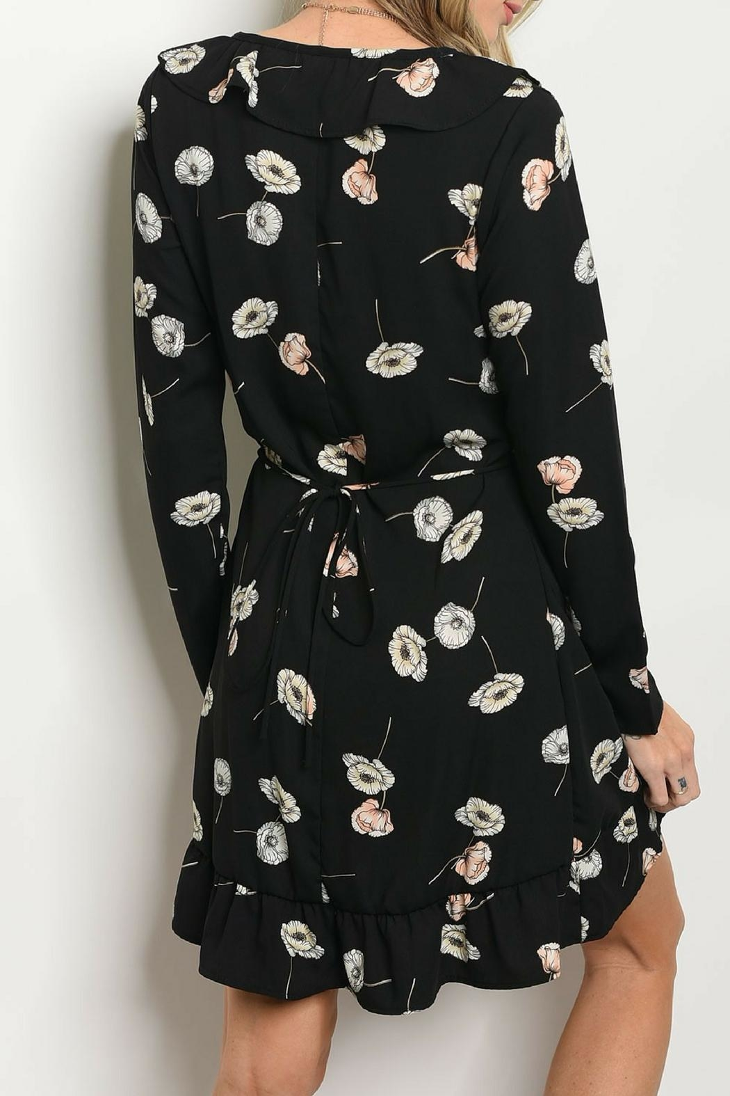 Sage Floral Wrap Dress - Front Full Image