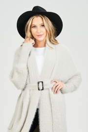 Sage Fuzzy Belted Cardigan - Other