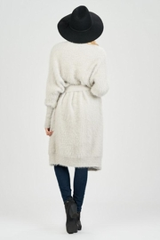 Sage Fuzzy Belted Cardigan - Back cropped
