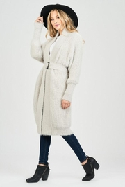Sage Fuzzy Belted Cardigan - Side cropped