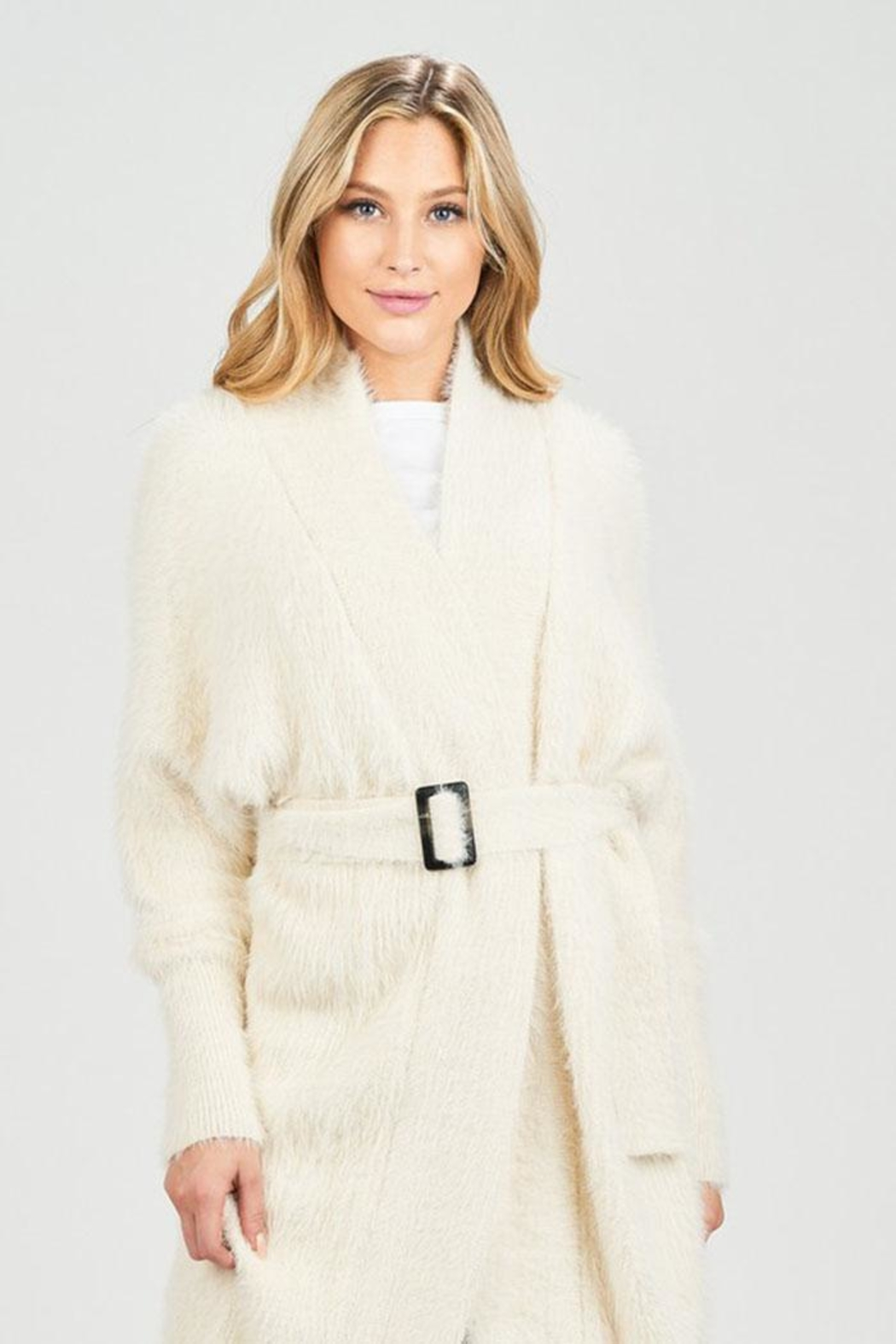 Sage Fuzzy Belted Cardigan - Side Cropped Image