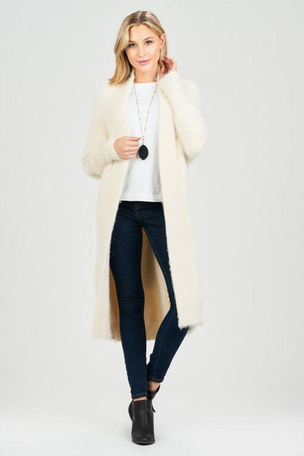 Sage Fuzzy Belted Cardigan - Front Cropped Image