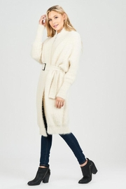 Sage Fuzzy Belted Cardigan - Front full body