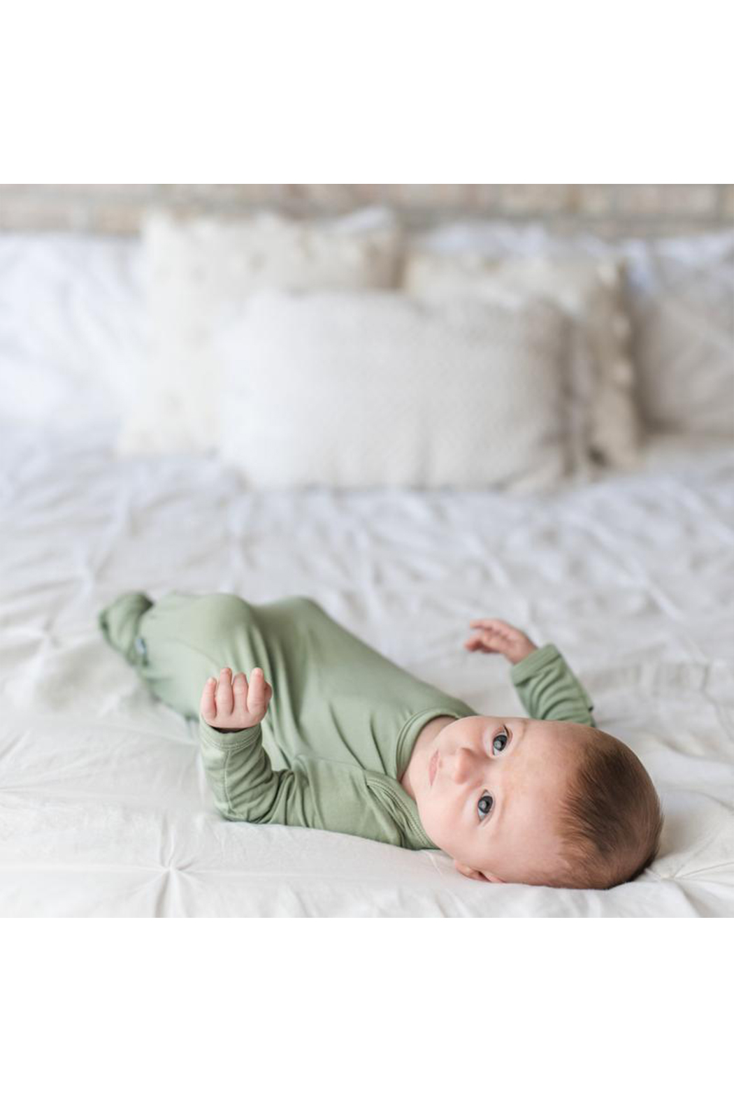 Little Sleepies Sage Green Bamboo Viscose Infant Knotted Gown - Side Cropped Image