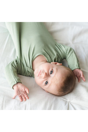 Little Sleepies Sage Green Bamboo Viscose Infant Knotted Gown - Front full body
