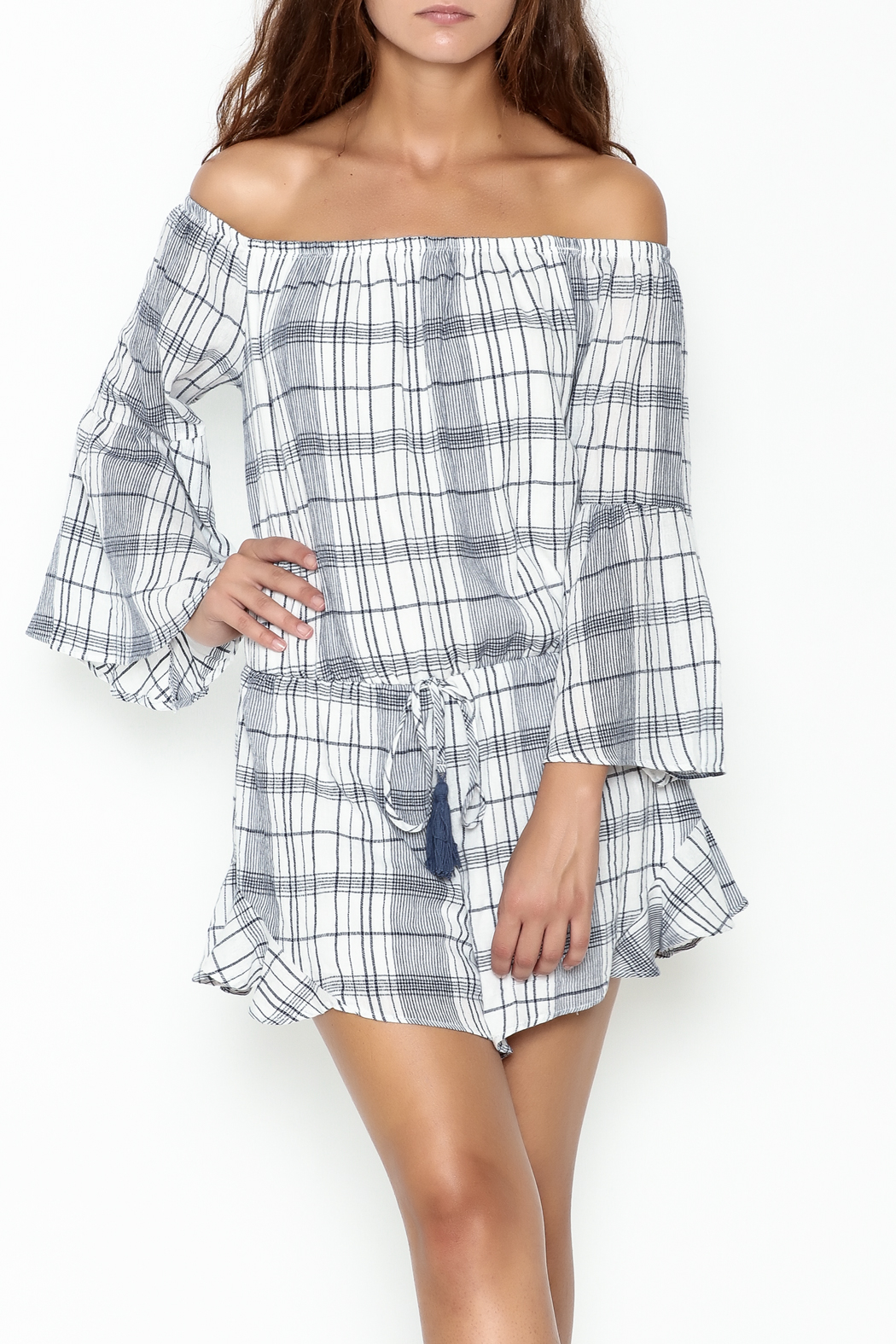 Sage Plaid Romper - Main Image