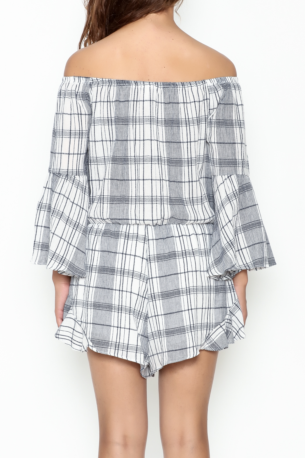 Sage Plaid Romper - Back Cropped Image