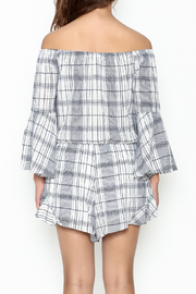 Sage Plaid Romper - Back cropped
