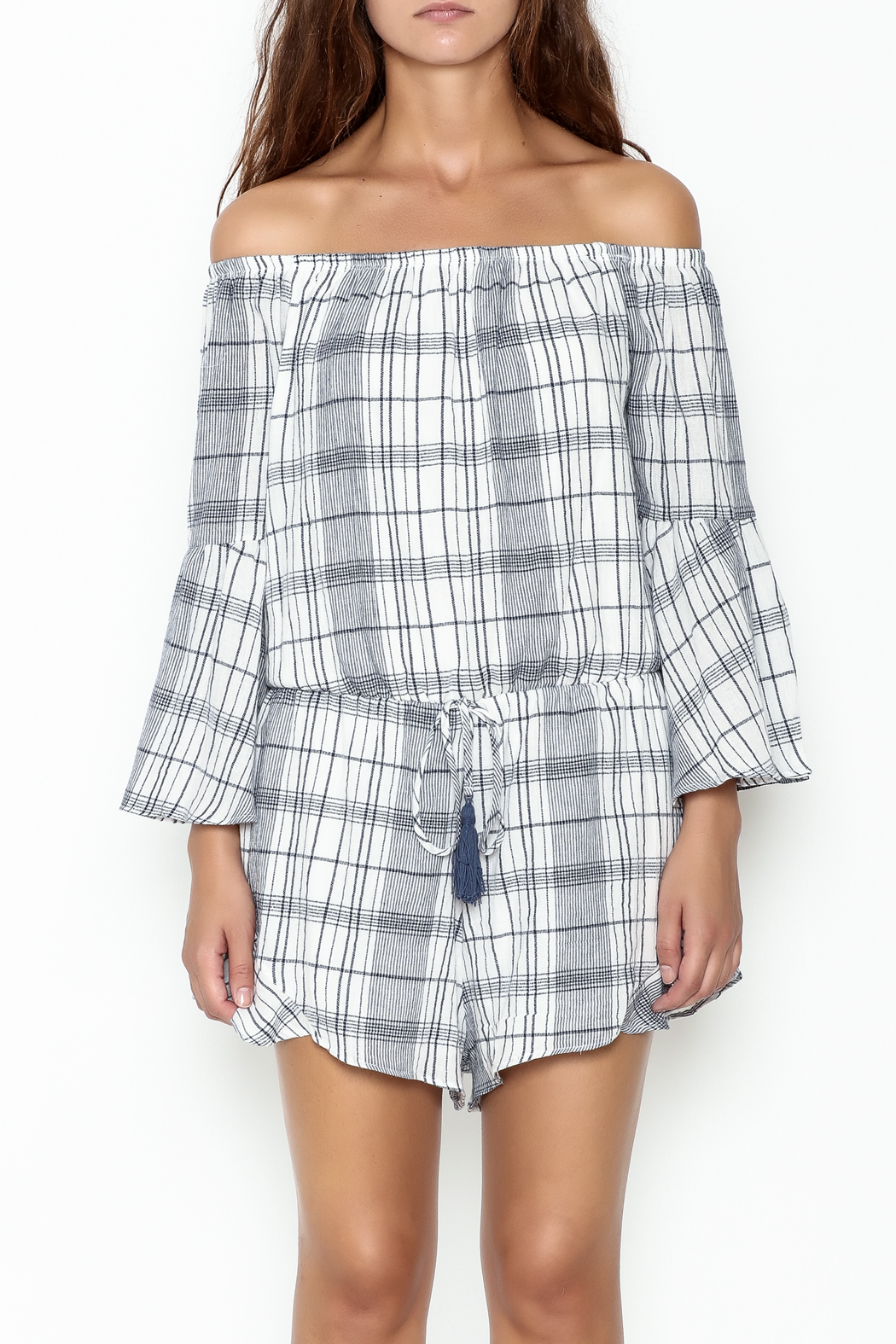 Sage Plaid Romper - Front Full Image