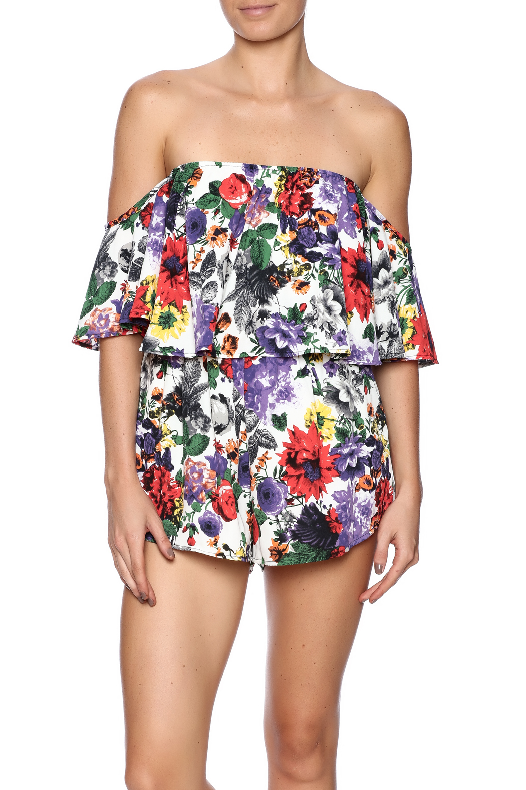Bacio Top Overlay Print Romper - Front Cropped Image