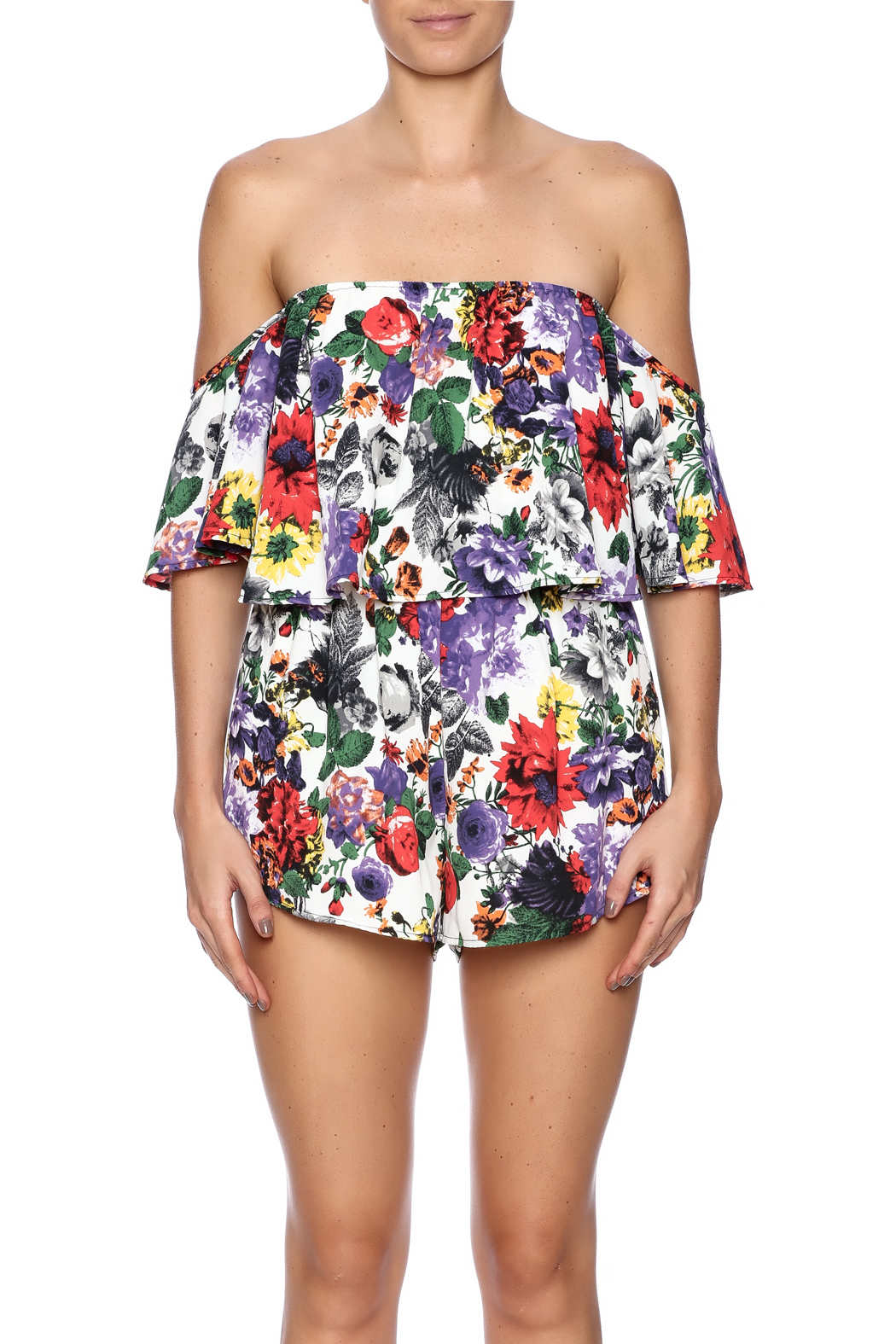 Bacio Top Overlay Print Romper - Side Cropped Image