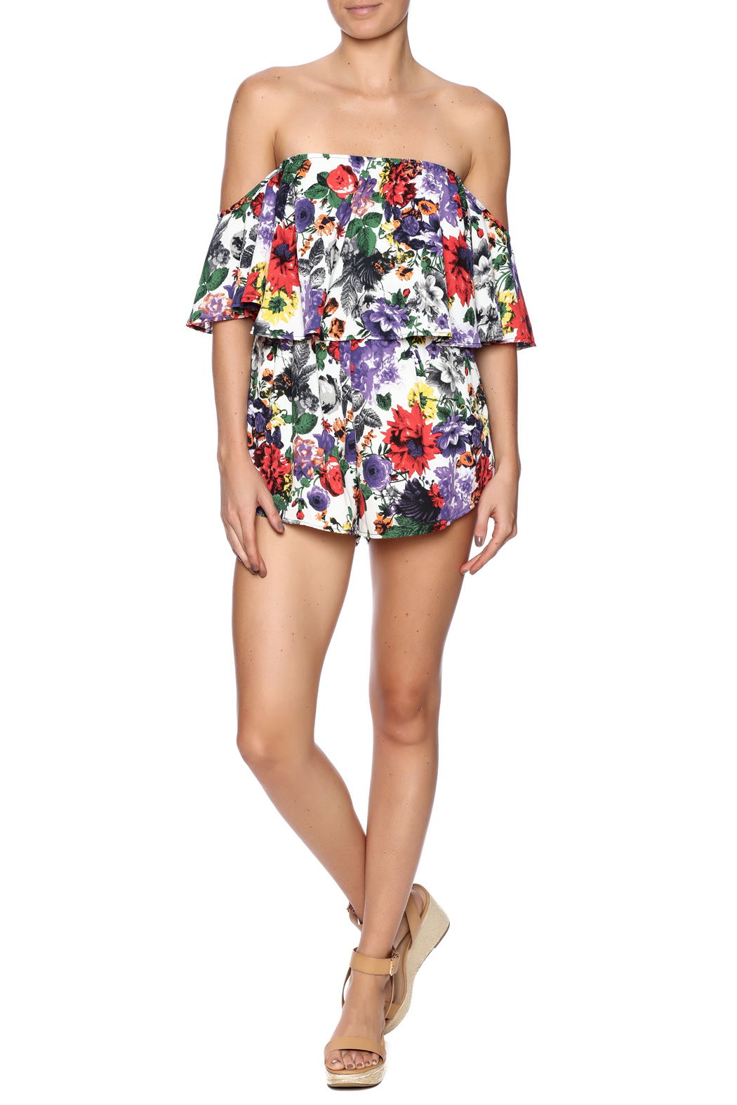 Bacio Top Overlay Print Romper - Front Full Image