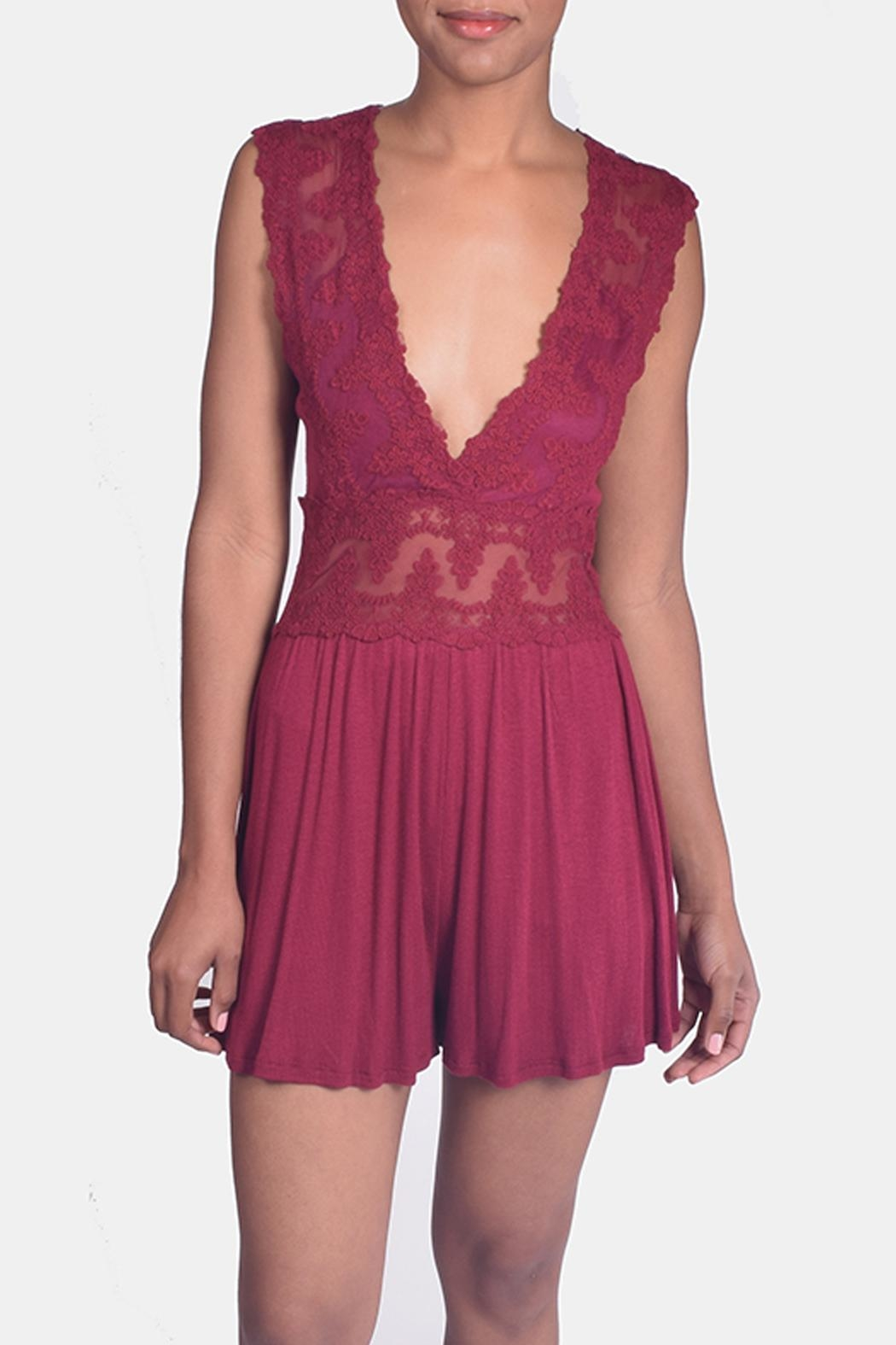 Sage Scarlett Lace Romper - Front Full Image