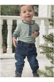 Me & Henry Sage Stripe Henley Onesie - Product Mini Image