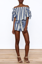 Sage Blue Stripe Print Shorts - Front full body