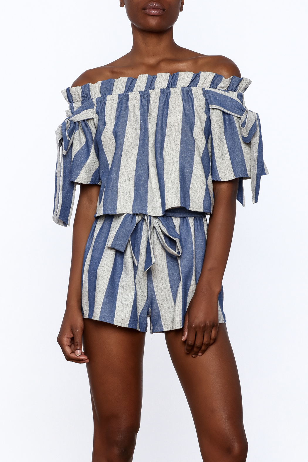 Sage Blue Stripe Print Top - Front Cropped Image