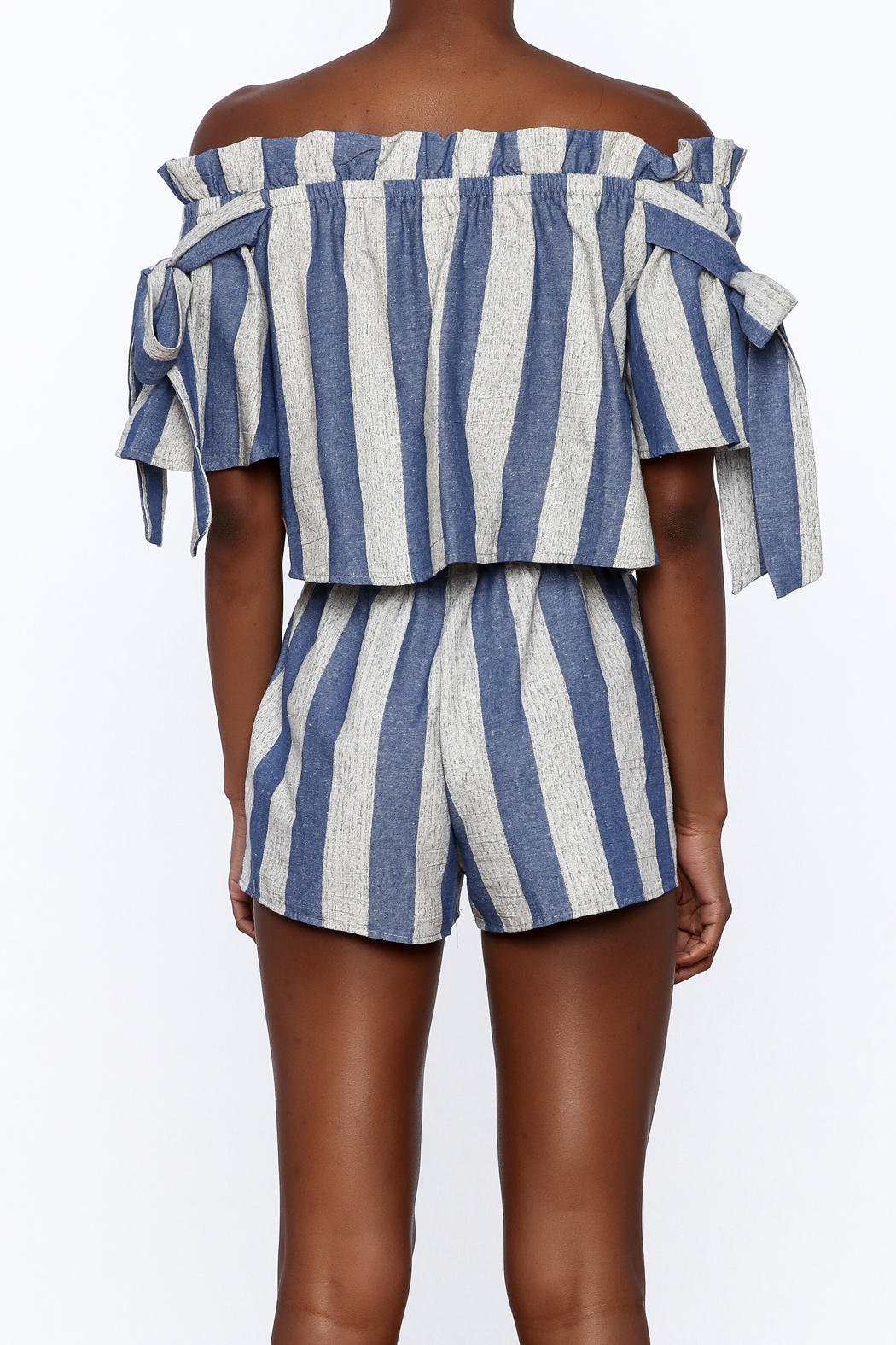 Sage Blue Stripe Print Top - Back Cropped Image