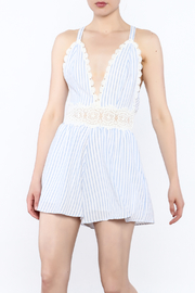 Sage Striped Crochet Romper - Front cropped