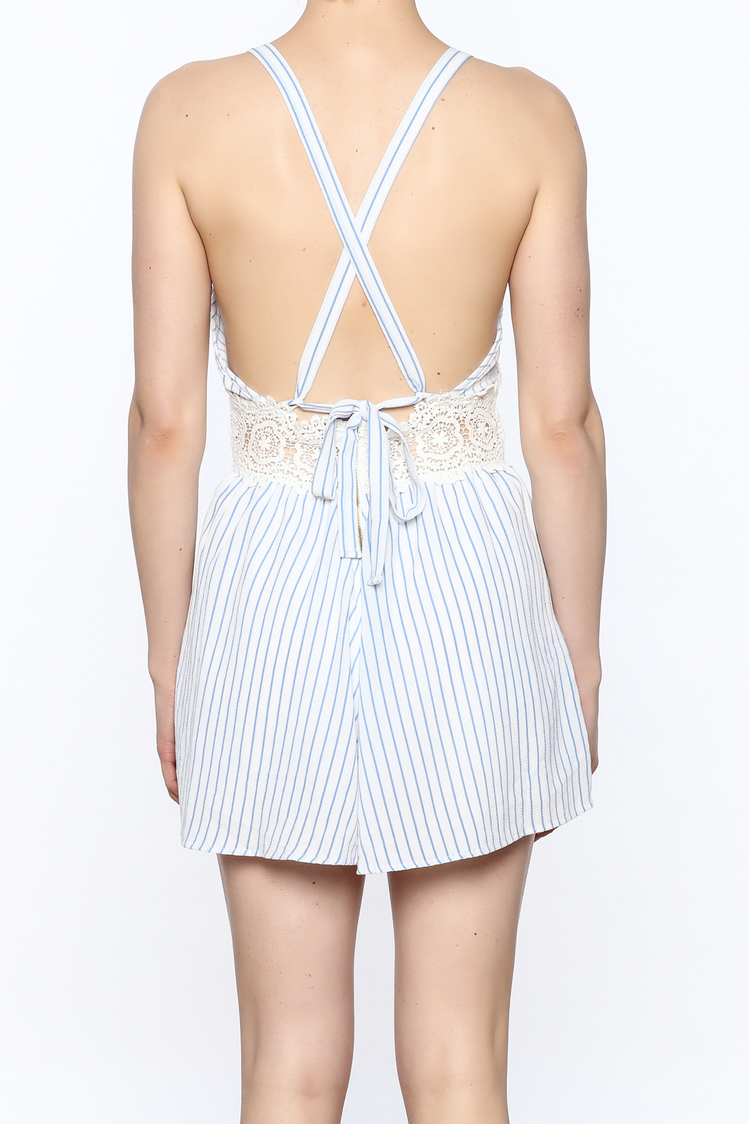 Sage Striped Crochet Romper - Back Cropped Image