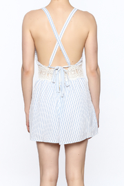 Sage Striped Crochet Romper - Back cropped