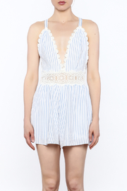Sage Striped Crochet Romper - Front full body