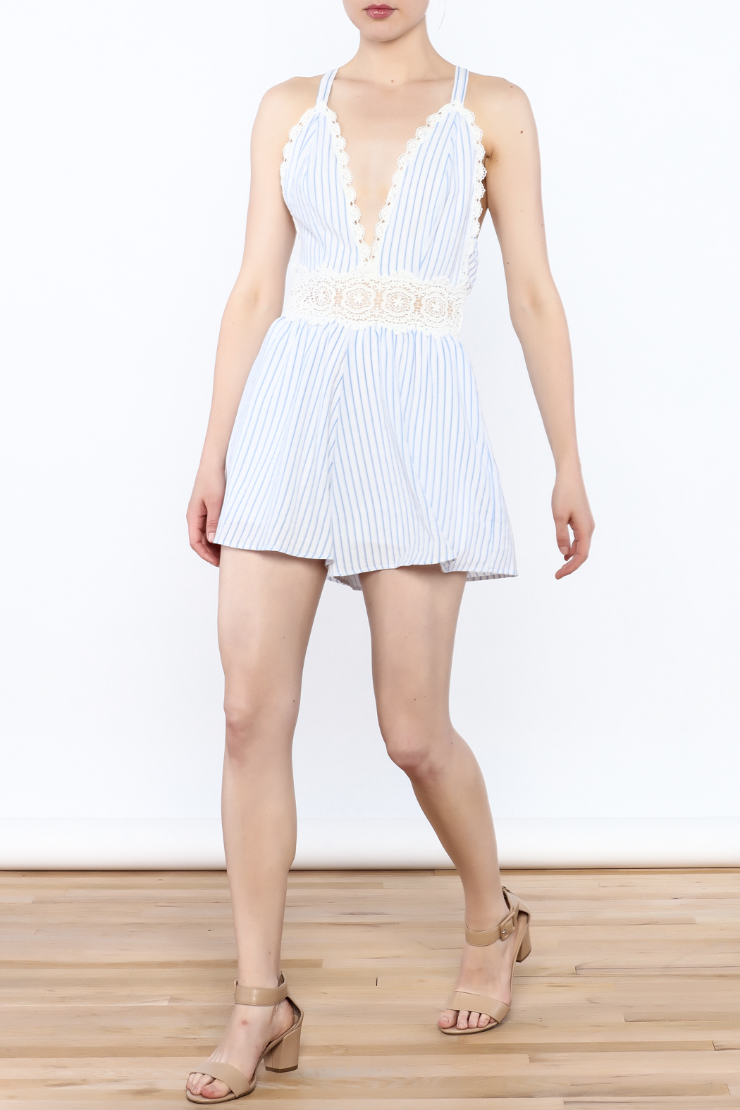 Sage Striped Crochet Romper - Side Cropped Image