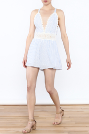 Sage Striped Crochet Romper - Side cropped