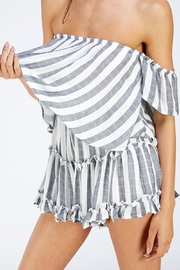 Sage Striped Tube Romper - Side cropped