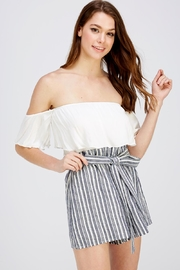 Sage Striped Tube Romper - Front cropped