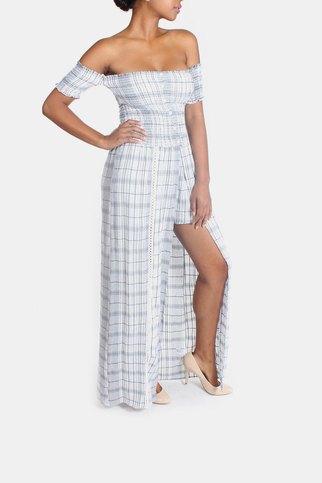 Sage Summer Plaid-Romper Maxi-Dress from Los Angeles by