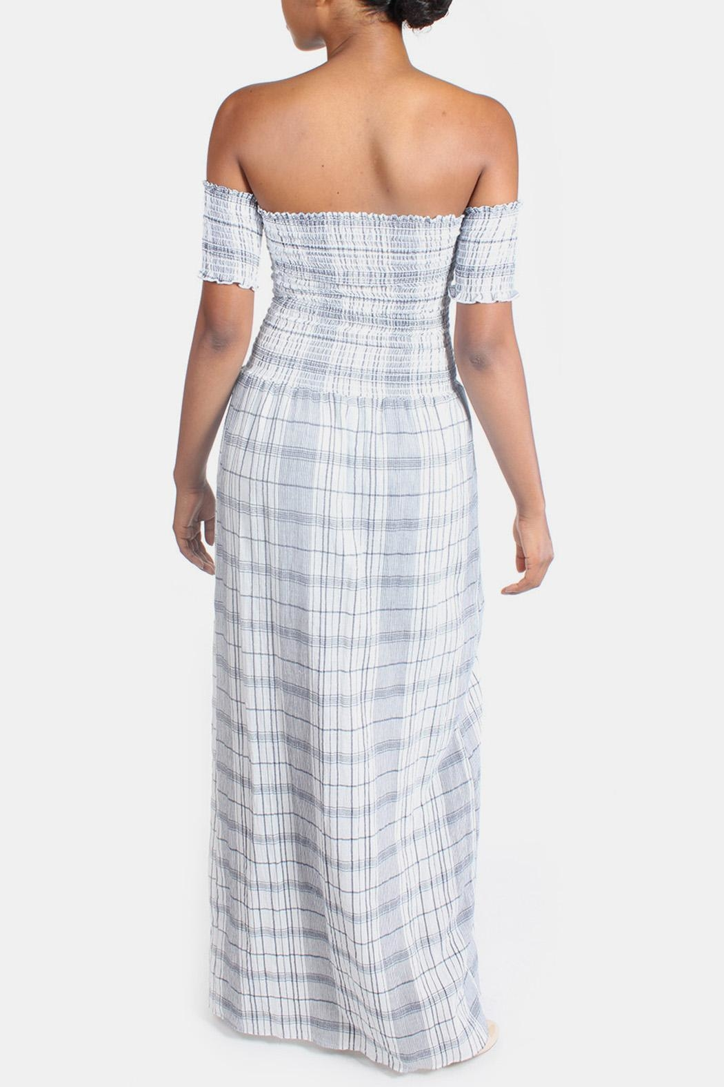 Sage Summer Plaid-Romper Maxi-Dress - Back Cropped Image